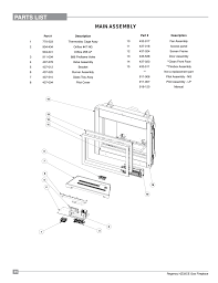 parts list main assembly regency horizon hz33ce small gas fireplace user manual page 54 60