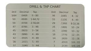 Card Size Chart Wallet Sized Drill Tap Chart Card Omnia Mfg