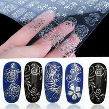 Amazon.com: Lowpricenice 108Pcs 3D Silver Flower Nail Art Stickers ...