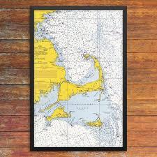 Cape Cod Bay Mass Bay Nantucket Sound Nautical Chart 12 X 18 Print