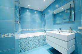 Blue Floor Tiles Bathroom Plain White Wall Paint Rectangular