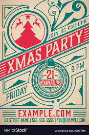 Retro Holidays Retro Christmas Party Poster Holidays Flyer Vector Image On Vectorstock