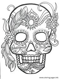 Flower Color Pages Sugar Skull Adult Flower Coloring Pages Printable