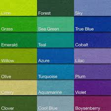 Forest Green Color Chart Holland Wool Felt Cool Colors Yards Cuts