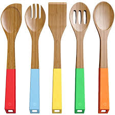 colorful kitchen utensils. Contemporary Kitchen Amazoncom Vremi 5 Piece Bamboo Spoons Cooking Utensils  Wooden  And Spatula Utensil Set Wood Nonstick For Kitchen With  With Colorful R
