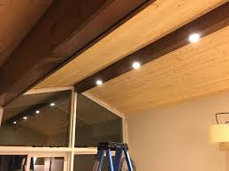 recessed lighting ceiling. Pine Faux Beam With Recessed Lighting Ceiling E
