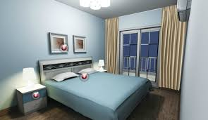 Light Blue Bedroom Lighting Design Rendering