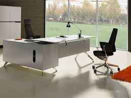 desk stylish executive l shape desk wood construction frosted glass table top chrome metal legs black