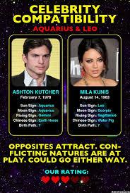 Ashton Kutcher Aquarius Mila Kunis Leo