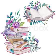 watercolor fl and nature elements with beautiful old books ilration for design beautiful card with watercolor flowers and books over white stock