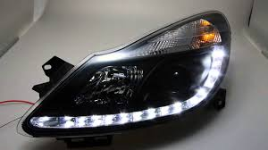Swdrl Headlights Opel Corsa D 06 10 Led Drl R87 Black Tuning