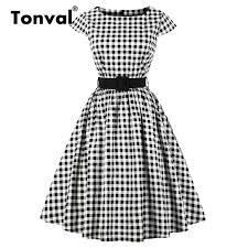 1950s Clothing Size Chart 2019 Wholesale Retro Plaid Dress Cap Sleeve 1950s Vintage Women Cotton Dress Elegant Summer Belted Hepburn From Yage_shop 28 88 Dhgate Com
