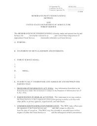 Letter Of Understanding Template Word Best Photos Of Memorandum Of Understanding Format Sample