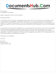 resignation letter for school teacher com resignation letter for school teacher