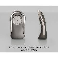 executive gifts table tops exclusive metal table clock gray silver