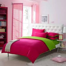 girls dark hot pink and grass green solid pure color simply shabby chic full queen size bedding sets