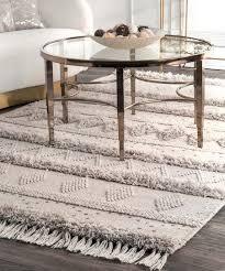 ivory gray geometric stripe wool rug rug pad