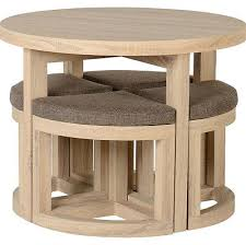 3 of 4 oak dining table small 4 chairs space saving seat round wooden solid furniture