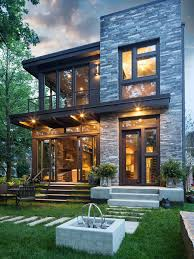 contemporary house exterior design. inspiration for a small contemporary gray two-story mixed siding flat roof remodel in minneapolis house exterior design e