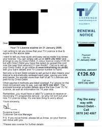tv licence. tv licence renewal letter tv i