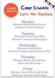 Summer Camp Weekly Schedule Camp Learn Play Lets Go Garden Free Summer Camps Camping And