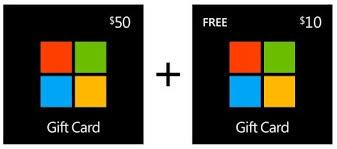 Microsoft Giftcard 50 Microsoft Gift Card 10 Microsoft Bonus Gift Card