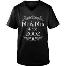 mr mrs since 2002 15th wedding anniversary gift ideas 3 guys v neck