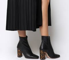 details about womens office all right block heel boots black leather tortoiseshell heel boots