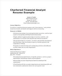 Chartered Financial Analyst Resume Example 1 Financial Analyst