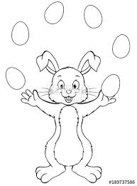 Modern Easter Bunny And Eggs Coloring Pages Vignette Coloring Page