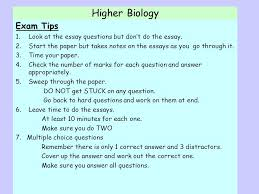 higher biology unit   unit   cell biology unit   unit     higher biology exam tips  look at the essay questions but don    t do