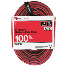 shop extension power cords at lowes com 100 ft 13 amp 14 gauge red black outdoor extension cord