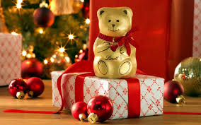 t gifts bow teddy bear lindt lights