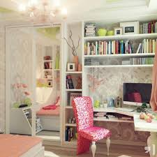 romantic decor home office. Inexpensive Office Decorating Ideas With Romantic Wallpaper Flower Pattern And Chic Pink Chair Design For Cheap Home Decor