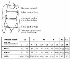 Misses Size Chart Sizing Chart Fairwinds Sarongs