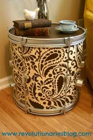 Image Living Room Diy Paisley Allover Stenciled Drum Turned Side Table Httpwwwcuttingedgestencils Cutting Edge Stencils Fab Furniture Makeovers Using Stencils