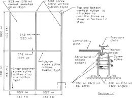 elevation and section of split spline curtain wall specimen inside