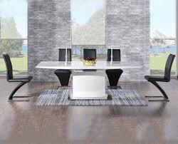 mark harris hayden white high gloss dining set 160cm rectangular extending with 6 black hereford