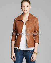 custom made women lamb brown leather jacket 10016