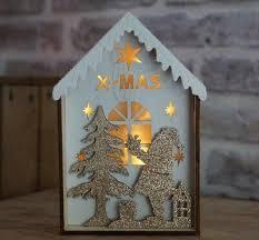 Deko Holzhaus Naturrot Beleuchtet Weihnachtsdeko
