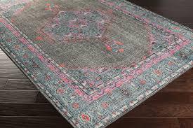 surya zahra zha 4006 greytealhot pink area rug