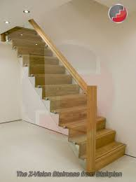 contemporary oak staircase with glass railing system