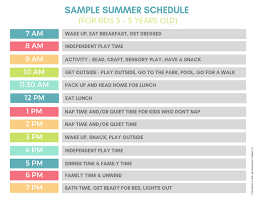 Sample Of Schedules Sample Summer Schedules For Kids Smoother Days Ahead 2019