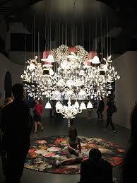 mega chandelier welcomed us to the space soon to be available to purchase consists of paper chandelier bell lamps heracleum pendants