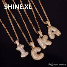 whole men s hip hop gold silver color copper cubic zirconia custom name bubble letters pendant necklace bling jewelry erfly pendant necklace