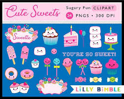 Cute Sweets Kawaii Clipart Cupcakes Candy Birthday Cake Party
