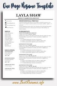 How To Make A One Page Resume 15 Best One Page Resume Template Images One Page Resume