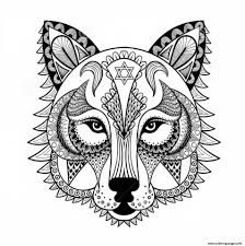 wolf adult zen colouring print wolf adult zen coloring pages ...