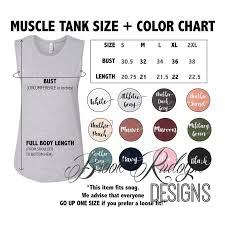 Bella Canvas 3001c Size Chart Bella Canvas Ladies Jersey Muscle Tank Model B6003 Color And Size Chart Digital File Download