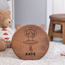 ballerina themed wooden stool personalised